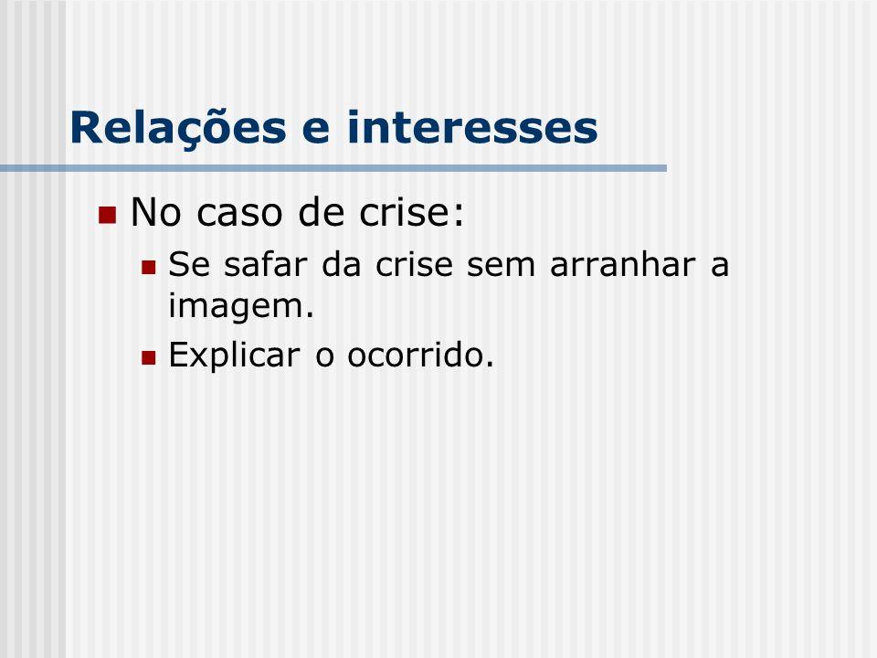 Relações e interesses No caso de crise: