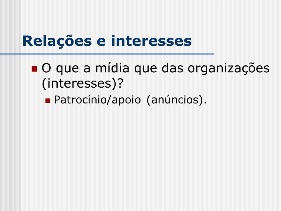 Relações e interesses O que a mídia que das organizações (interesses)