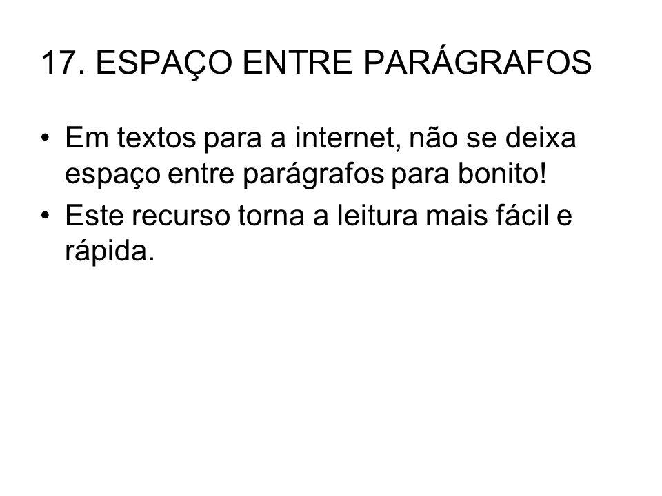 17. ESPAÇO ENTRE PARÁGRAFOS