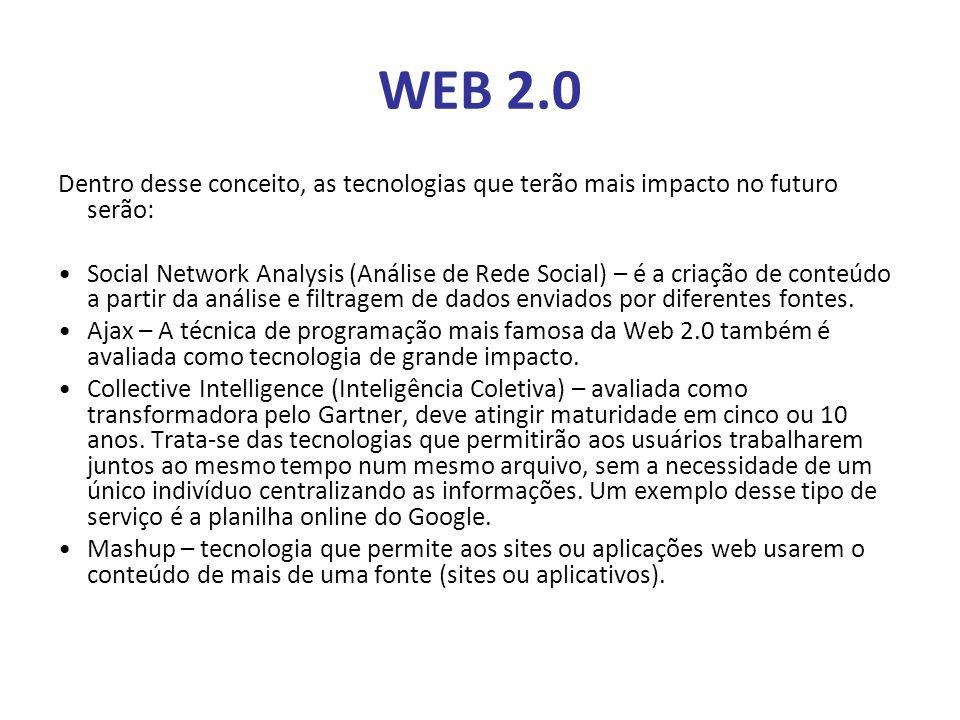 WEB 2.0 Dentro desse conceito, as tecnologias que terão mais impacto no futuro serão: