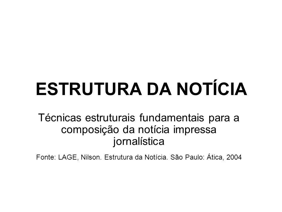 Fonte: LAGE, Nilson. Estrutura da Notícia. São Paulo: Ática, 2004