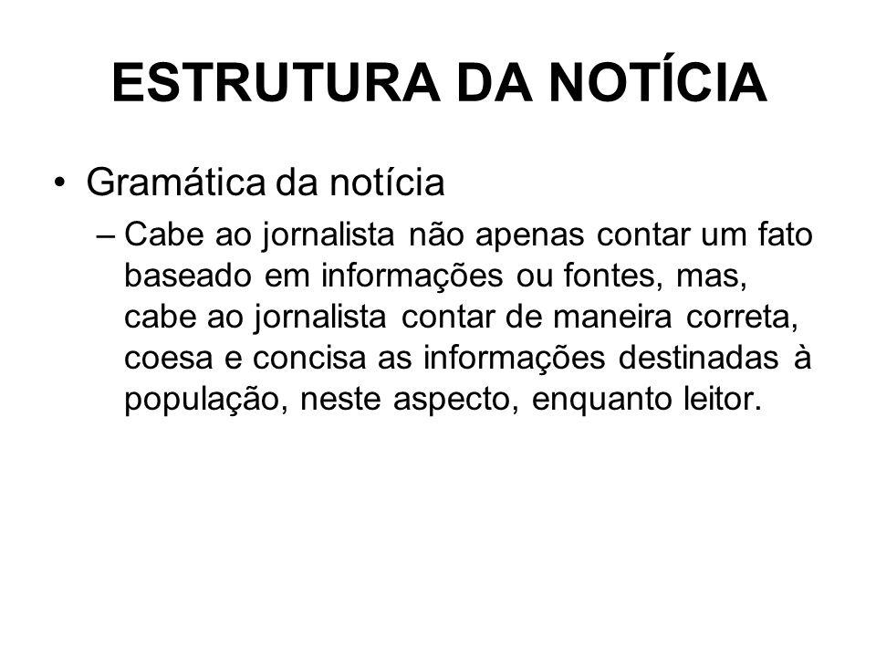 ESTRUTURA DA NOTÍCIA Gramática da notícia