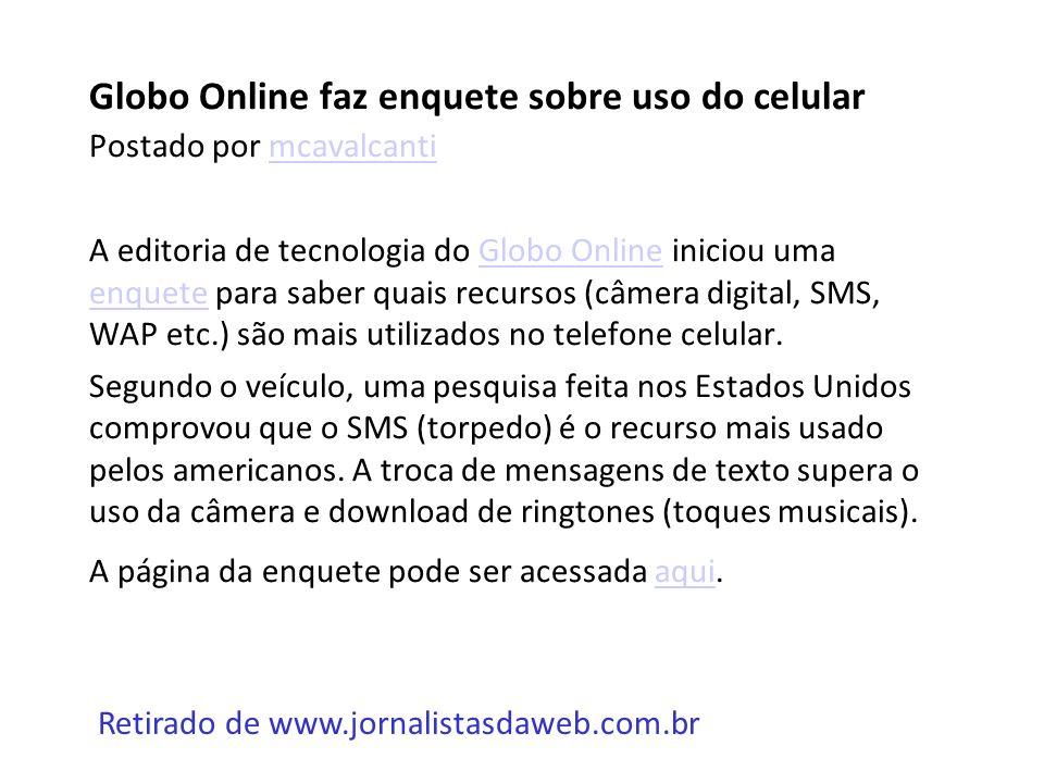 Globo Online faz enquete sobre uso do celular