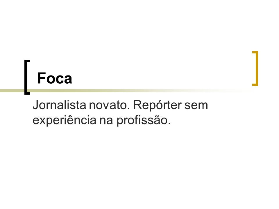 Foca Jornalista novato. Repórter sem experiência na profissão.