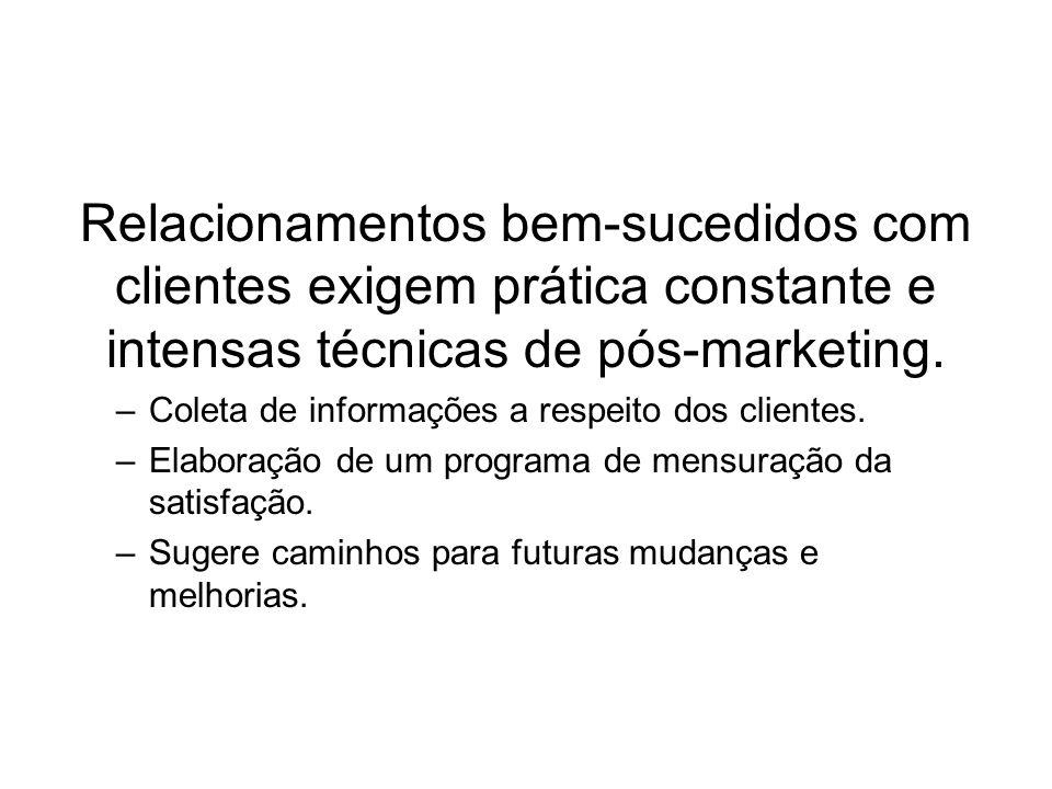 Relacionamentos bem-sucedidos com clientes exigem prática constante e intensas técnicas de pós-marketing.