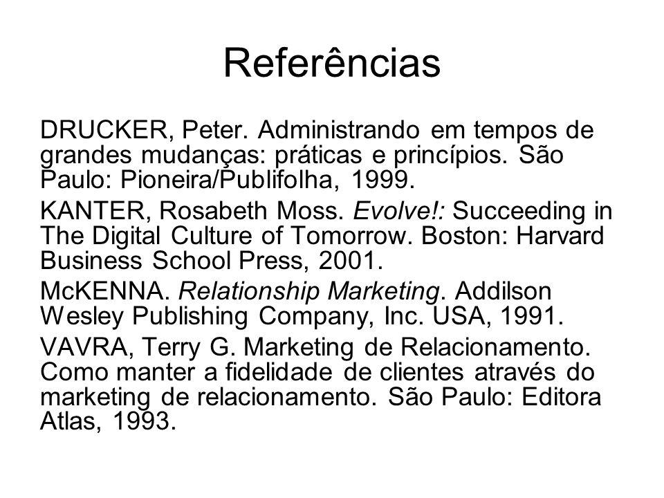 Referências DRUCKER, Peter. Administrando em tempos de grandes mudanças: práticas e princípios. São Paulo: Pioneira/Publifolha, 1999.