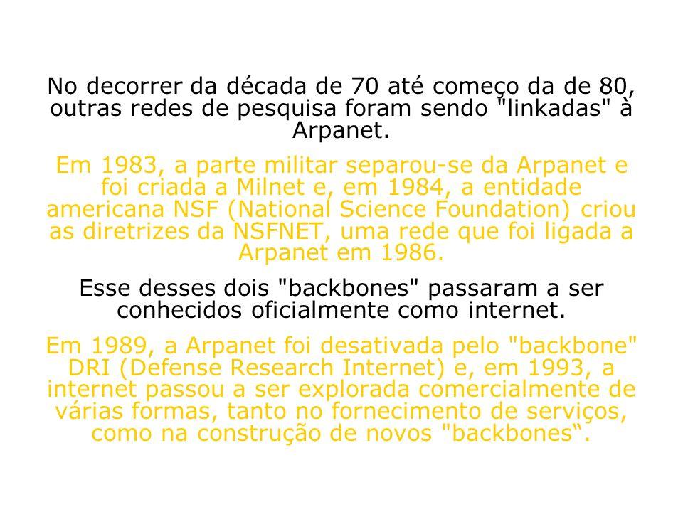 No decorrer da década de 70 até começo da de 80, outras redes de pesquisa foram sendo linkadas à Arpanet.