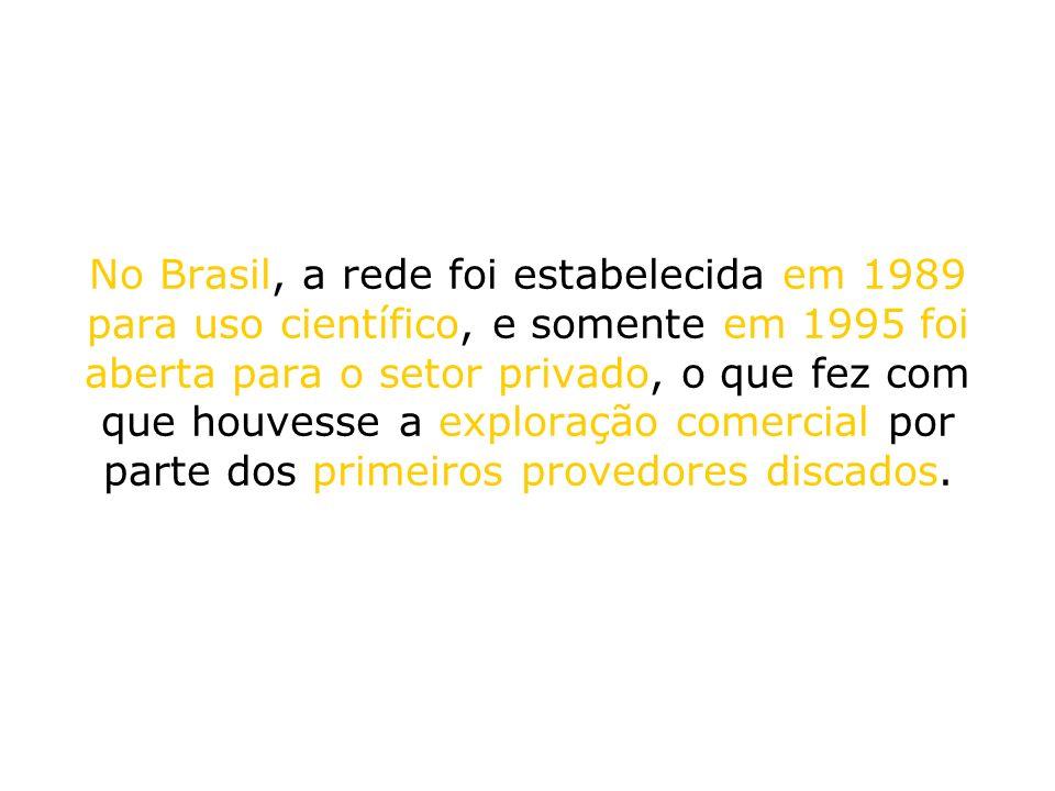 No Brasil, a rede foi estabelecida em 1989 para uso científico, e somente em 1995 foi aberta para o setor privado, o que fez com que houvesse a exploração comercial por parte dos primeiros provedores discados.
