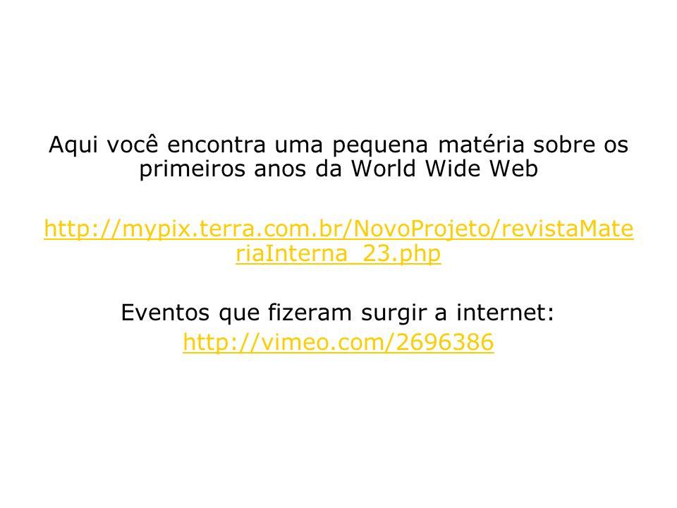 Eventos que fizeram surgir a internet: