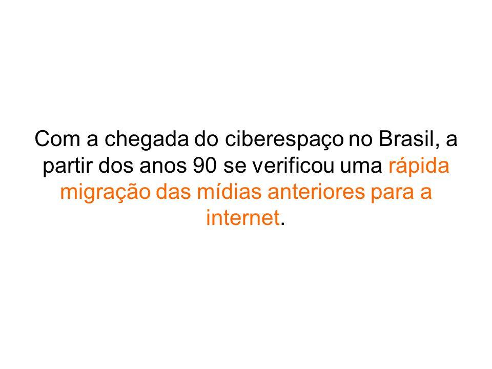 Com a chegada do ciberespaço no Brasil, a partir dos anos 90 se verificou uma rápida migração das mídias anteriores para a internet.