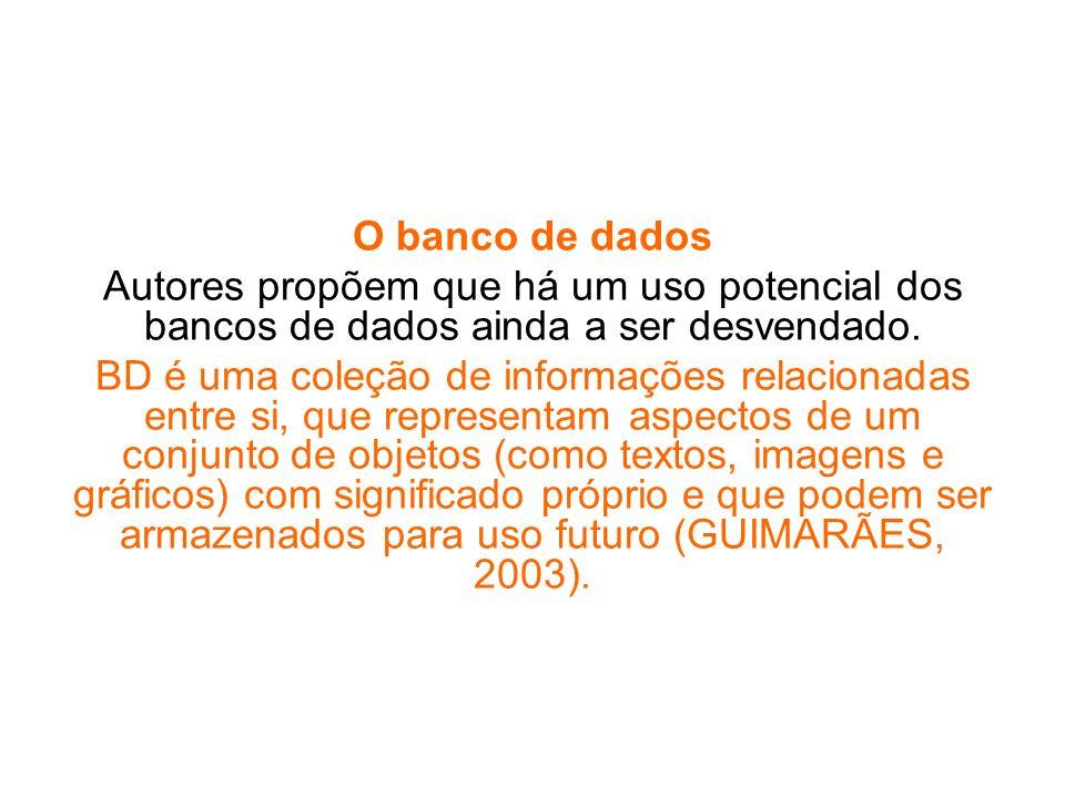 O banco de dados Autores propõem que há um uso potencial dos bancos de dados ainda a ser desvendado.