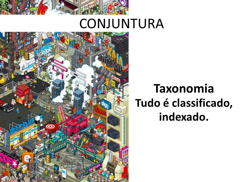 CONJUNTURA Taxonomia Tudo é classificado, indexado.