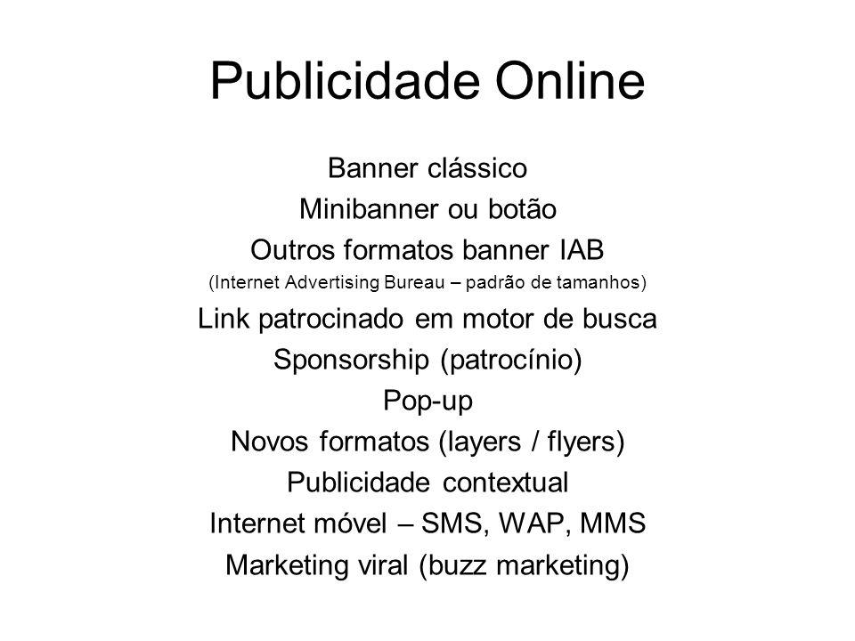 Publicidade Online Banner clássico Minibanner ou botão