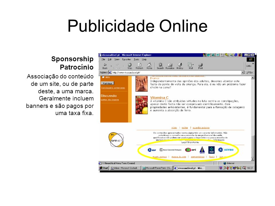 Publicidade Online Sponsorship Patrocínio