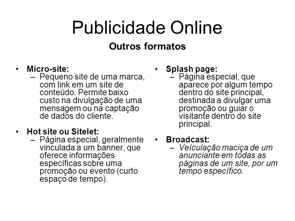 Publicidade Online Outros formatos Micro-site: