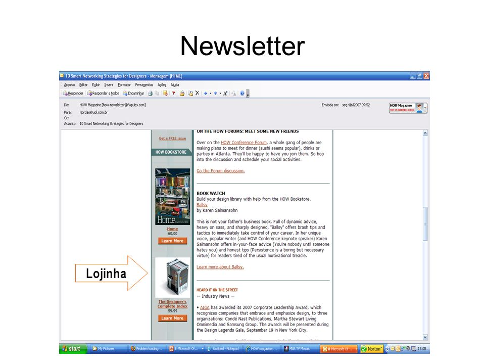 Newsletter Lojinha