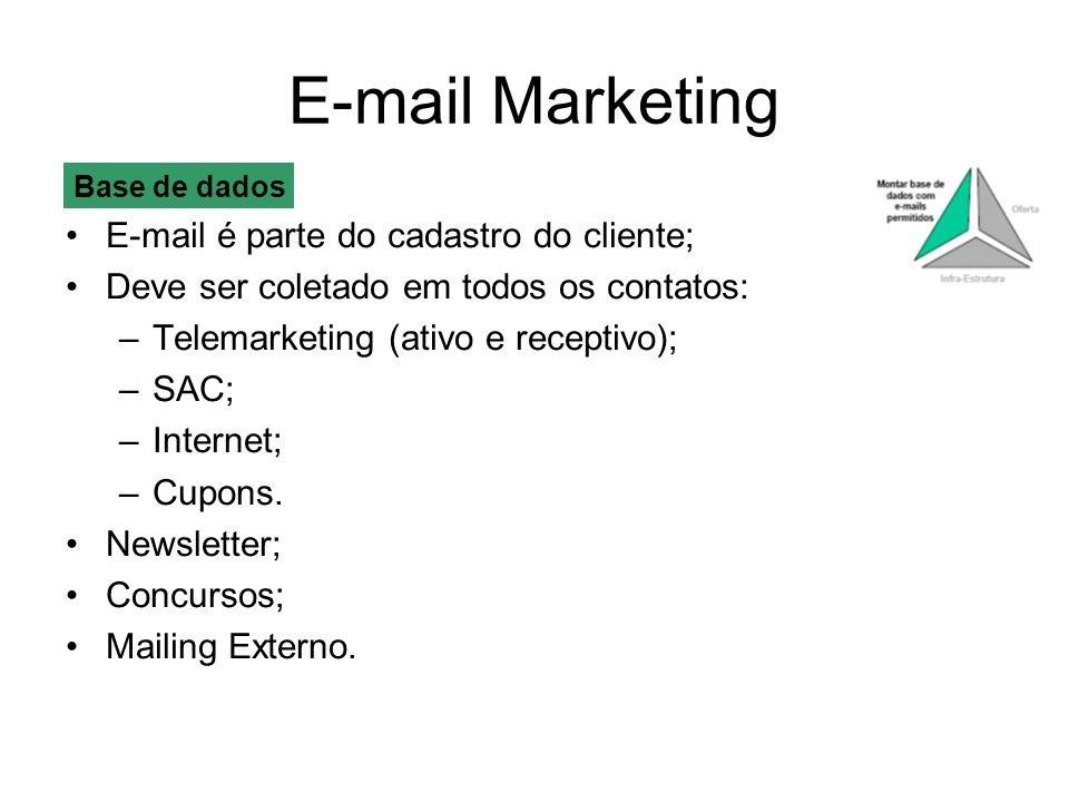 E-mail Marketing E-mail é parte do cadastro do cliente;