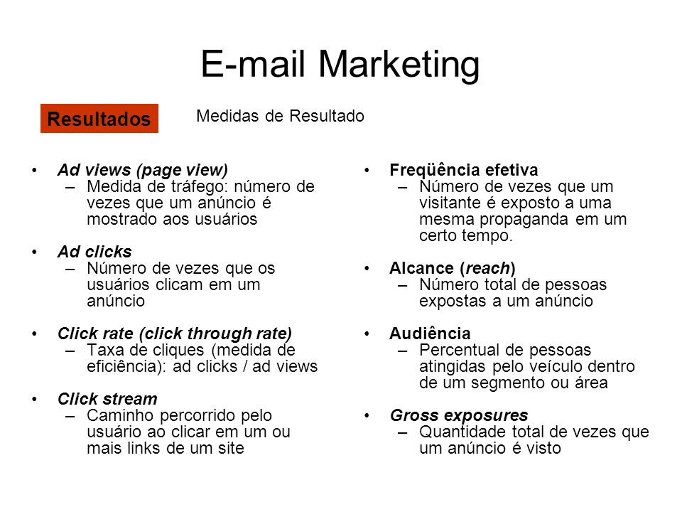 E-mail Marketing Resultados Medidas de Resultado Ad views (page view)