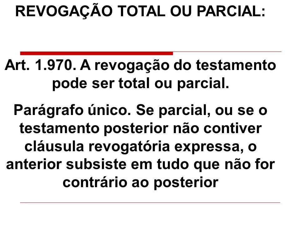 REVOGAÇÃO TOTAL OU PARCIAL: