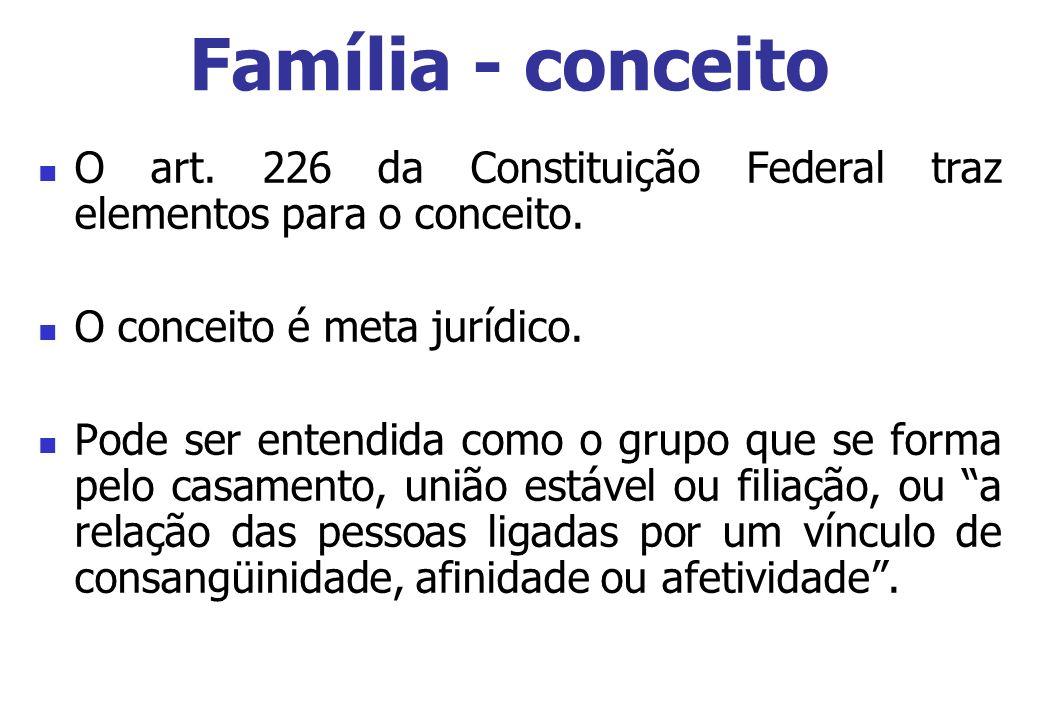 Família - conceito O art. 226 da Constituição Federal traz elementos para o conceito. O conceito é meta jurídico.