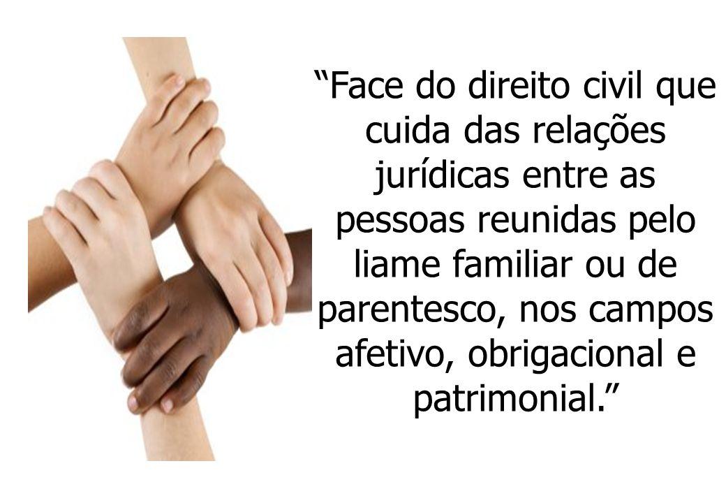 Face do direito civil que cuida das relações jurídicas entre as pessoas reunidas pelo liame familiar ou de parentesco, nos campos afetivo, obrigacional e patrimonial.