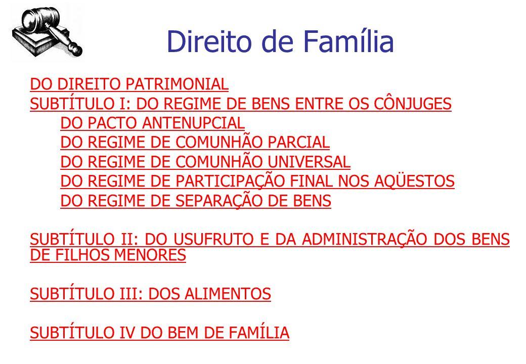Direito de Família SUBTÍTULO I: DO REGIME DE BENS ENTRE OS CÔNJUGES