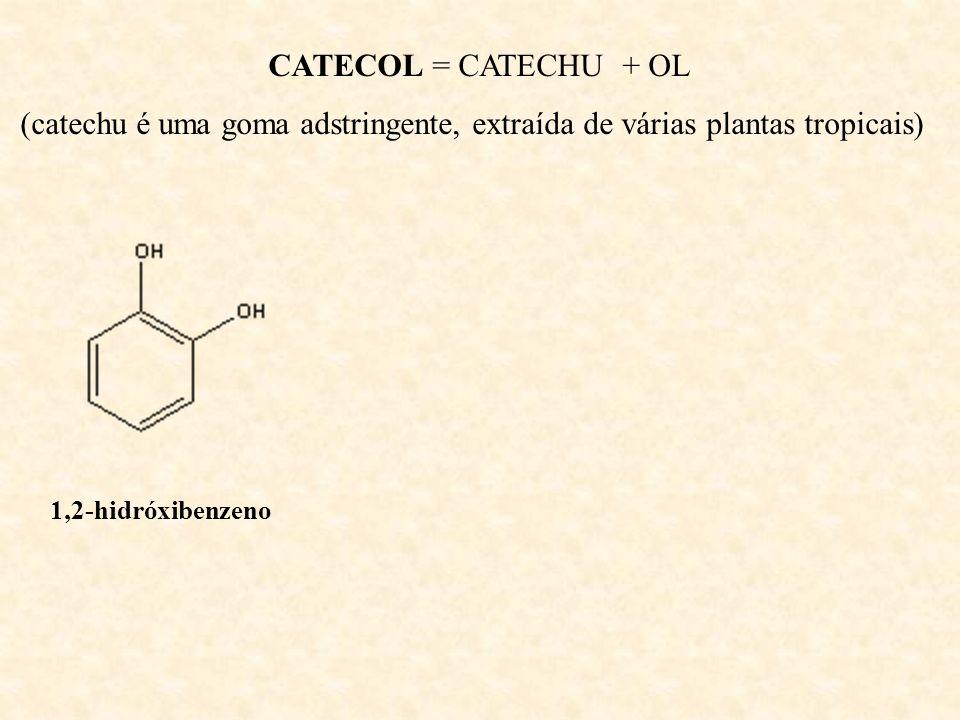 CATECOL = CATECHU + OL(catechu é uma goma adstringente, extraída de várias plantas tropicais) 1,2-hidróxibenzeno.