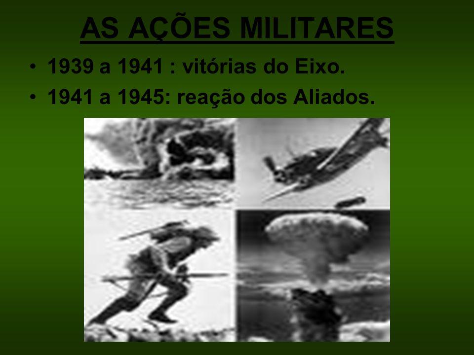 AS AÇÕES MILITARES 1939 a 1941 : vitórias do Eixo.