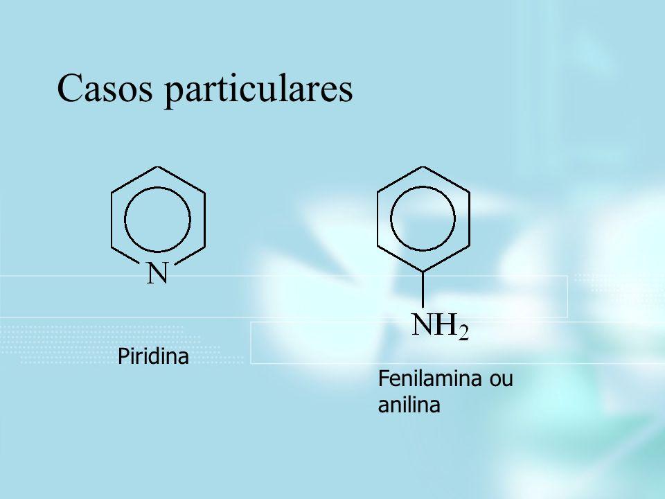 Casos particulares Piridina Fenilamina ou anilina