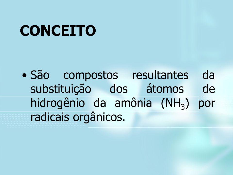 CONCEITO São compostos resultantes da substituição dos átomos de hidrogênio da amônia (NH3) por radicais orgânicos.