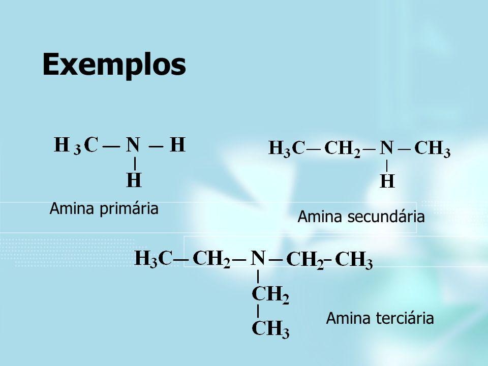 Exemplos Amina primária Amina secundária Amina terciária