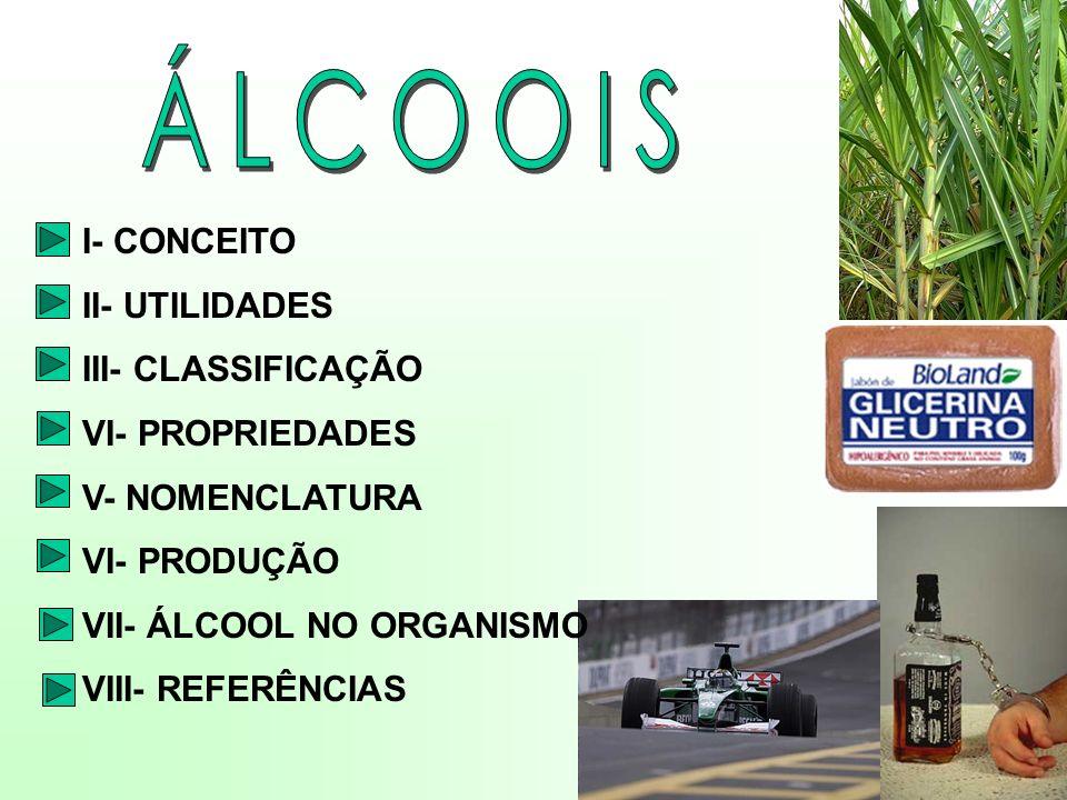ÁLCOOIS I- CONCEITO II- UTILIDADES III- CLASSIFICAÇÃO VI- PROPRIEDADES