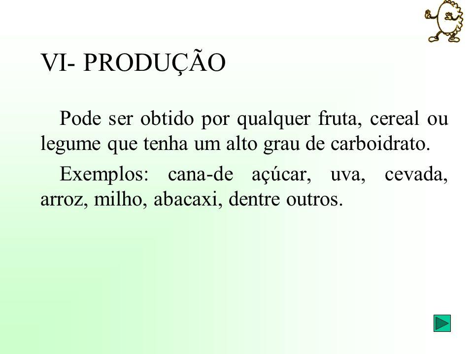 VI- PRODUÇÃO Pode ser obtido por qualquer fruta, cereal ou legume que tenha um alto grau de carboidrato.