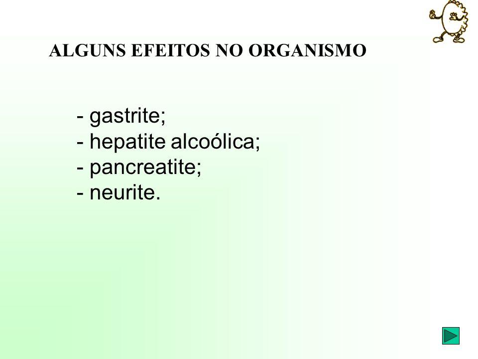 - gastrite; - hepatite alcoólica; - pancreatite; - neurite.