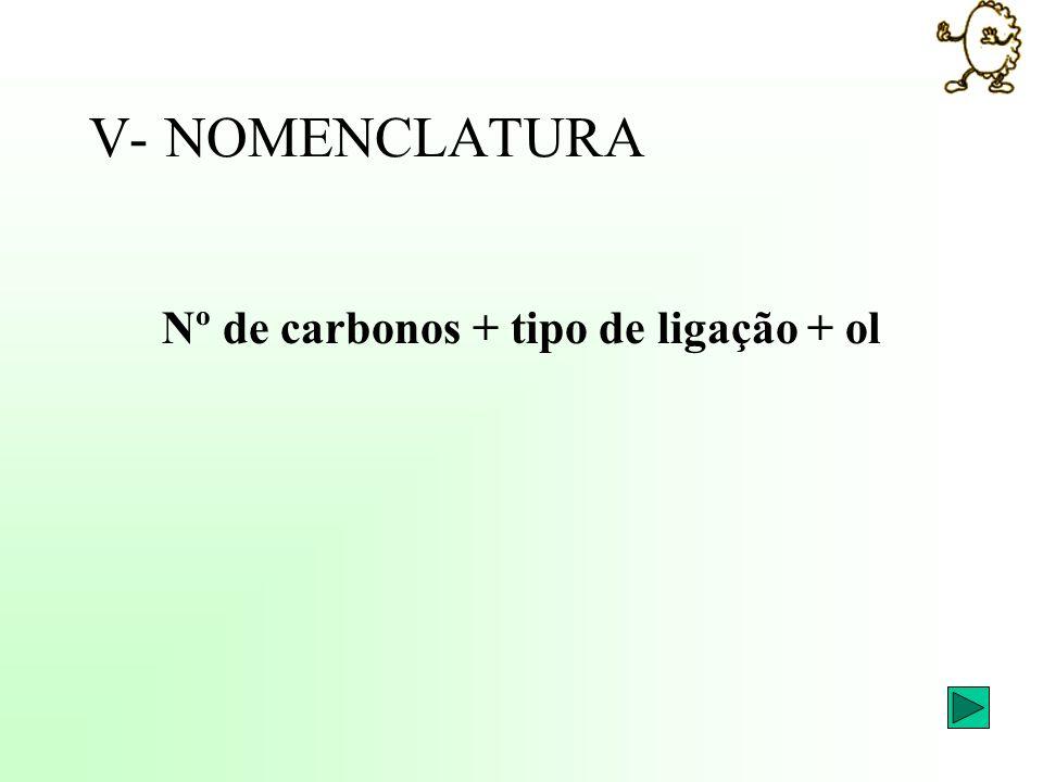 Nº de carbonos + tipo de ligação + ol