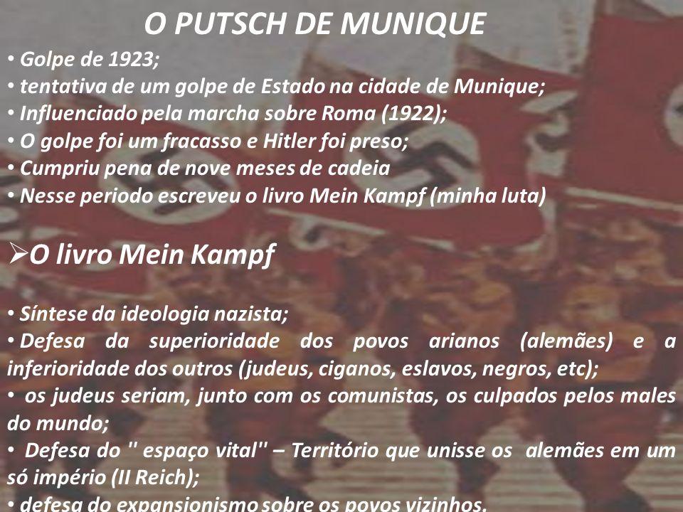 O PUTSCH DE MUNIQUE O livro Mein Kampf Golpe de 1923;