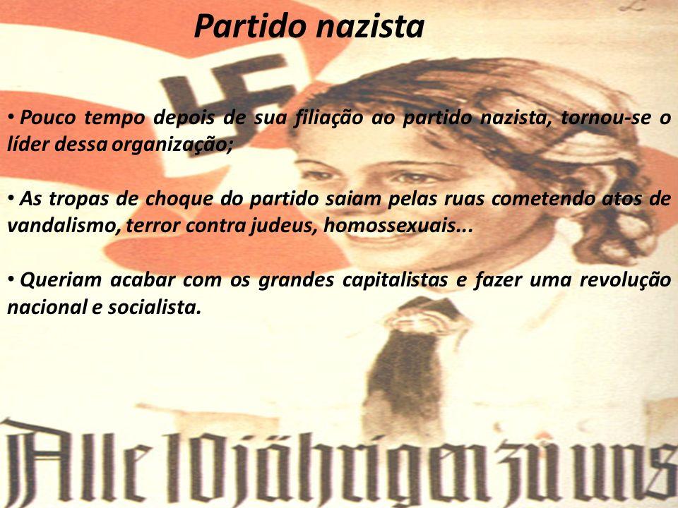 Partido nazista Pouco tempo depois de sua filiação ao partido nazista, tornou-se o líder dessa organização;