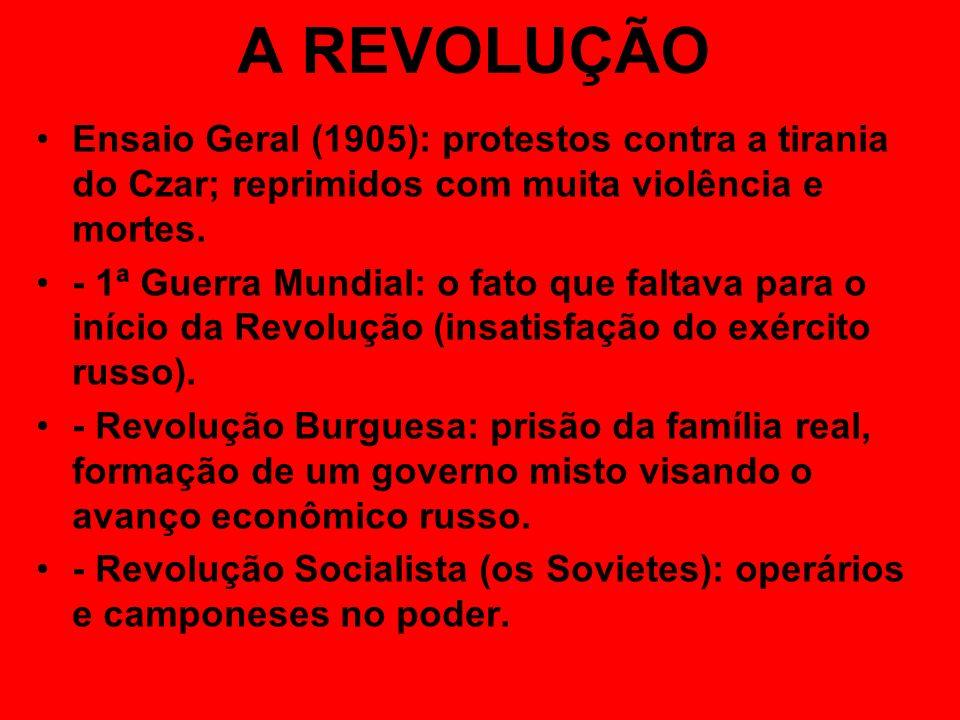 A REVOLUÇÃOEnsaio Geral (1905): protestos contra a tirania do Czar; reprimidos com muita violência e mortes.