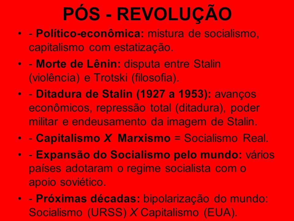 PÓS - REVOLUÇÃO- Político-econômica: mistura de socialismo, capitalismo com estatização.