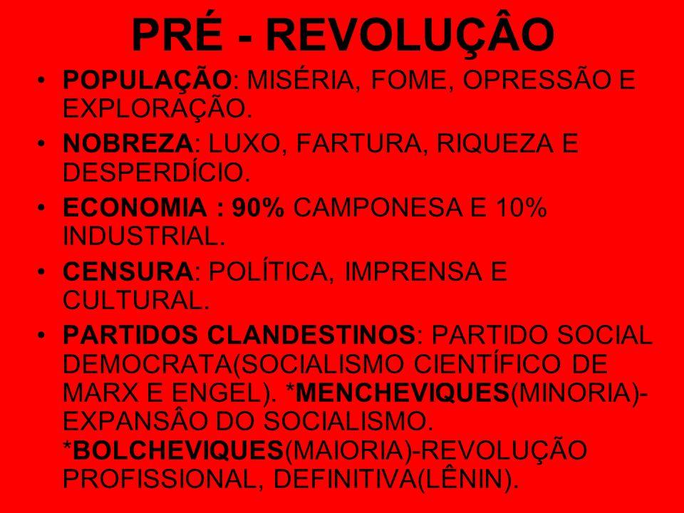 PRÉ - REVOLUÇÂO POPULAÇÃO: MISÉRIA, FOME, OPRESSÃO E EXPLORAÇÃO.