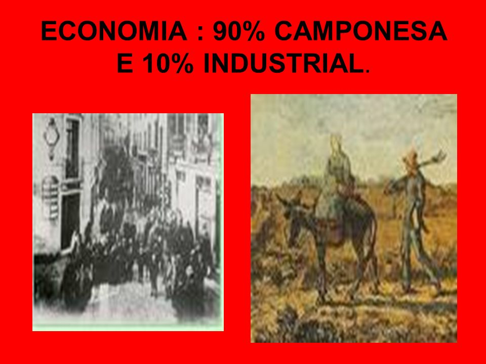 ECONOMIA : 90% CAMPONESA E 10% INDUSTRIAL.
