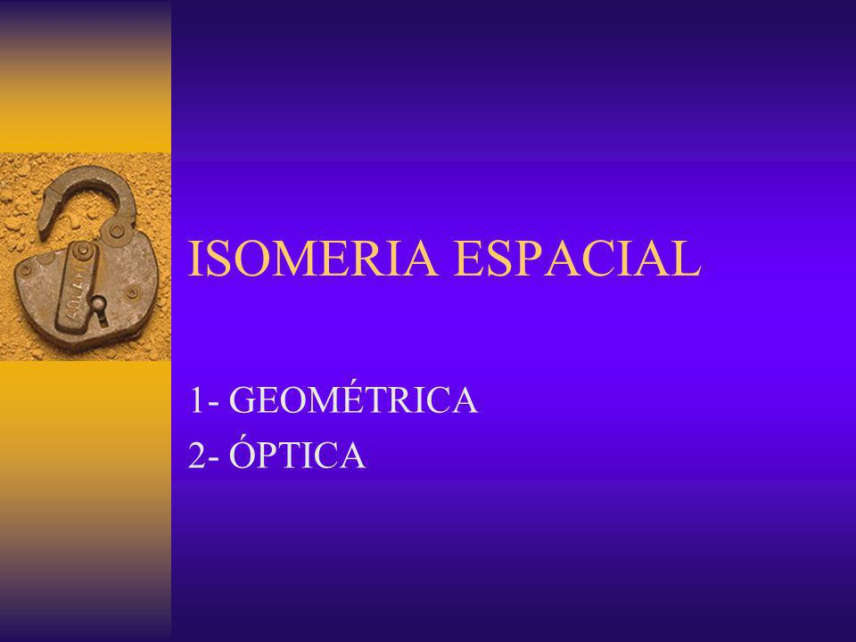ISOMERIA ESPACIAL 1- GEOMÉTRICA 2- ÓPTICA