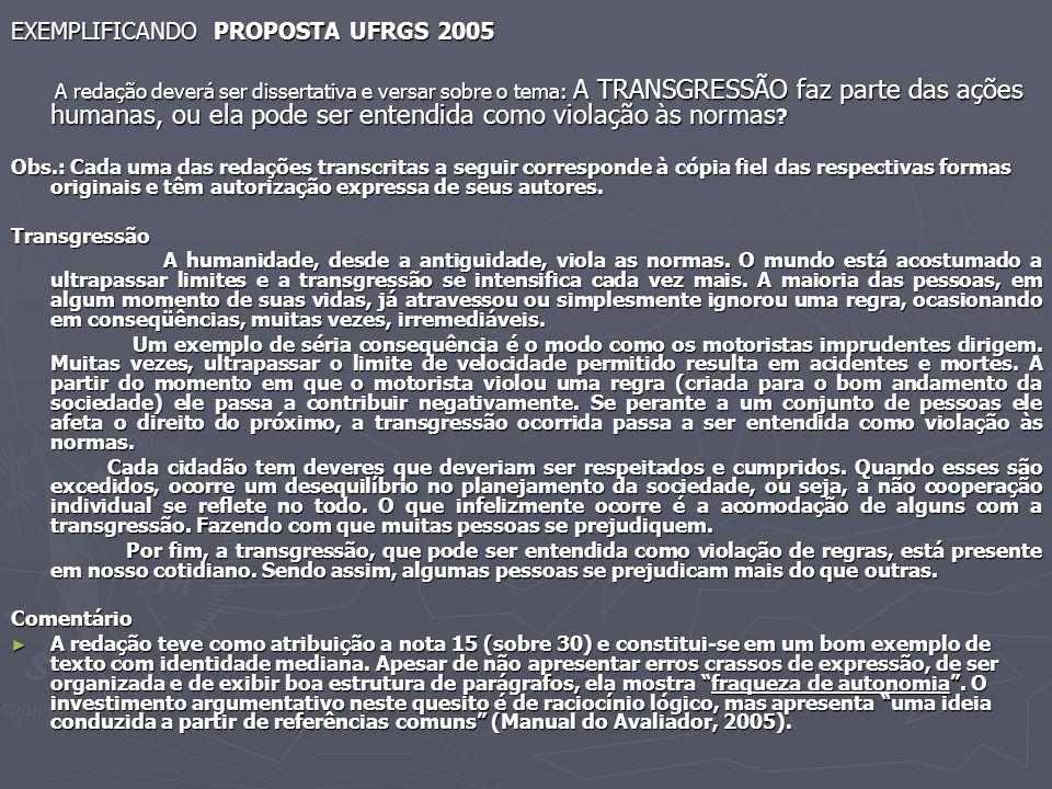 EXEMPLIFICANDO PROPOSTA UFRGS 2005