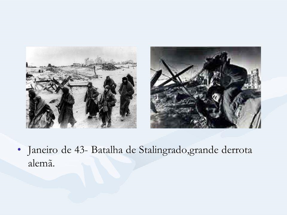 Janeiro de 43- Batalha de Stalingrado,grande derrota alemã.