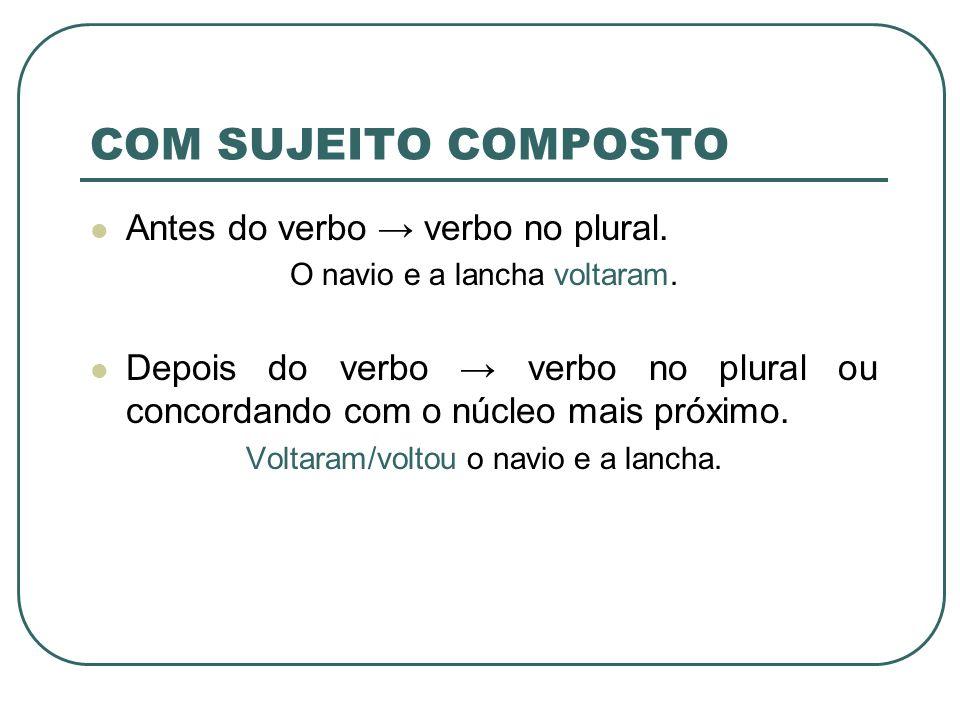 COM SUJEITO COMPOSTO Antes do verbo → verbo no plural.
