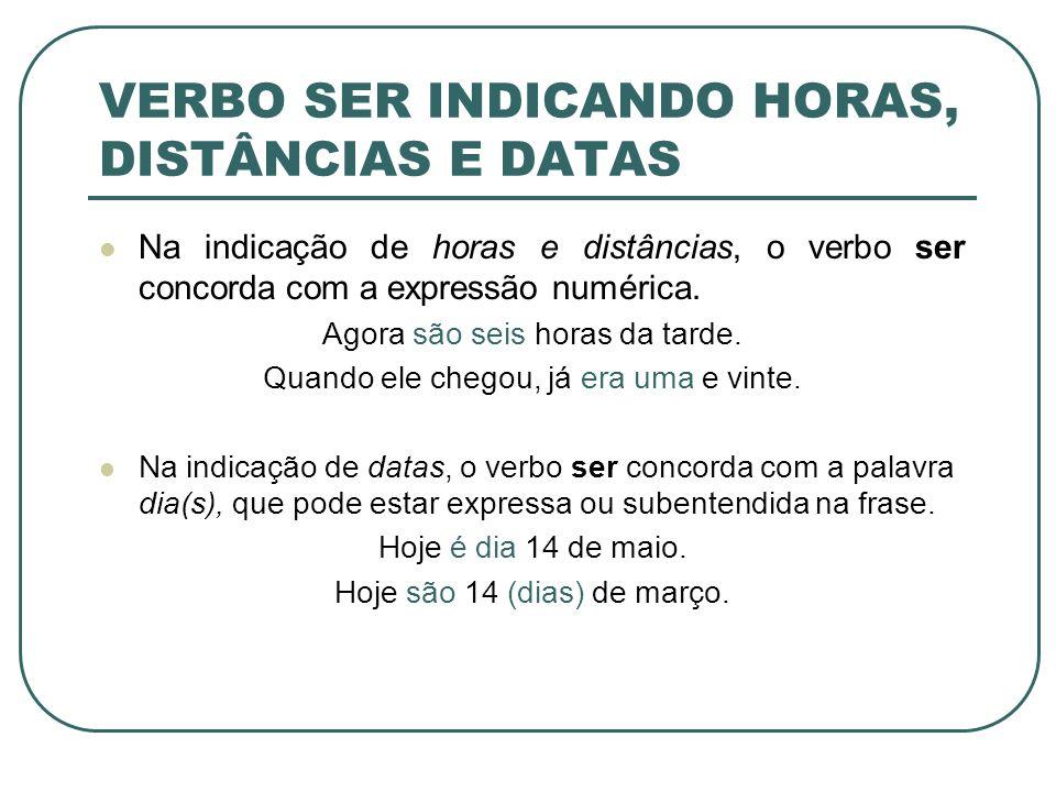 VERBO SER INDICANDO HORAS, DISTÂNCIAS E DATAS