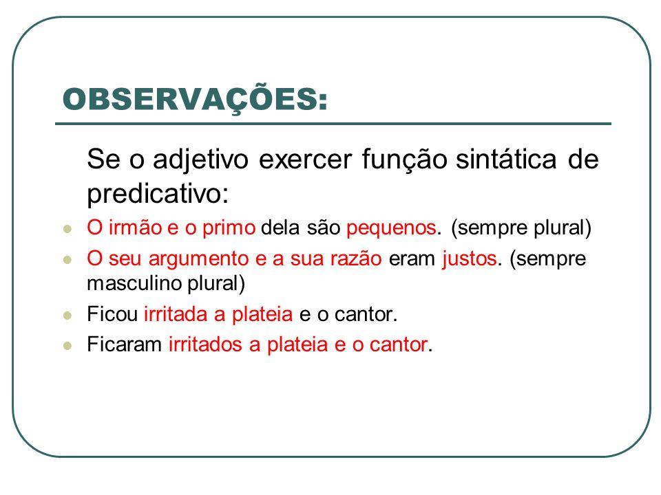 OBSERVAÇÕES: Se o adjetivo exercer função sintática de predicativo: