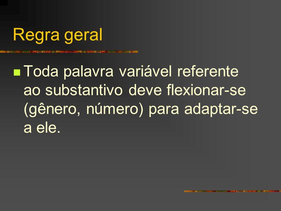 Regra geral Toda palavra variável referente ao substantivo deve flexionar-se (gênero, número) para adaptar-se a ele.