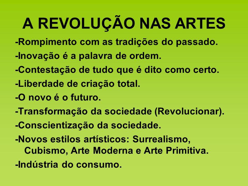 A REVOLUÇÃO NAS ARTES -Rompimento com as tradições do passado.