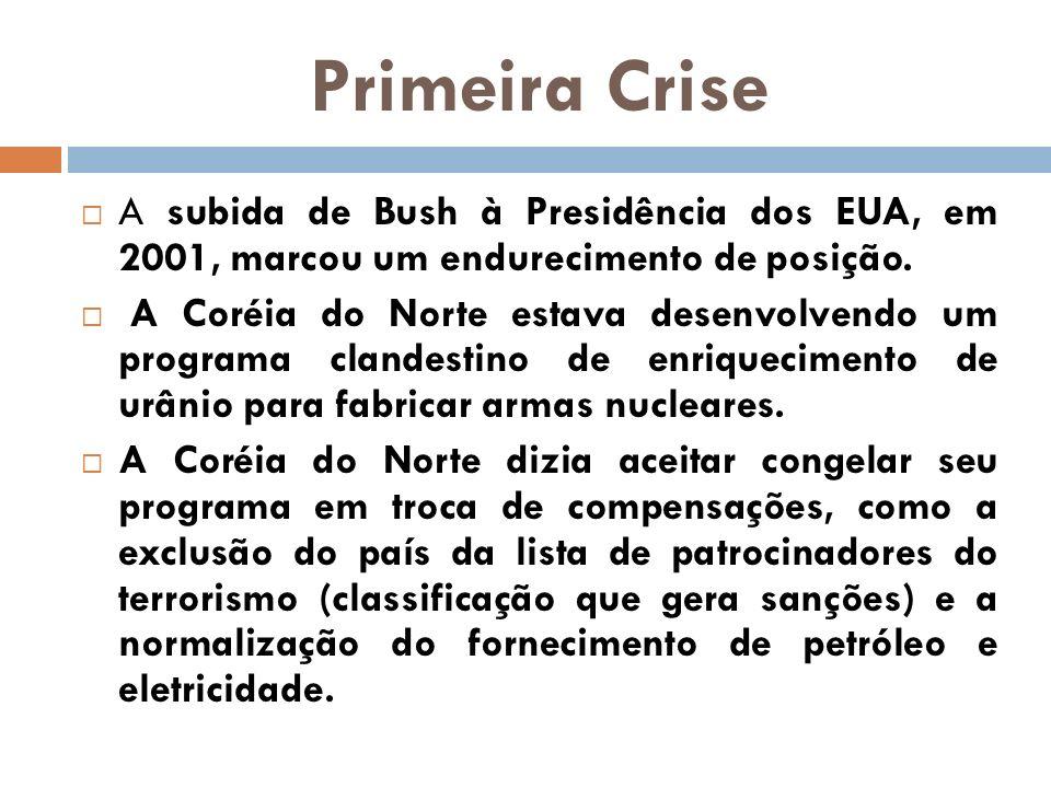 Primeira Crise A subida de Bush à Presidência dos EUA, em 2001, marcou um endurecimento de posição.